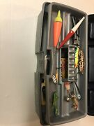 Tackle Box With Lures And Daiwa Minicast 2 Reel.