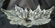 Lalique Champs Elysees Large Frosted Crystal Leaf Pattern Centerpiece Bowl, 18