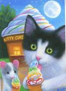 Aceo Tuxedo Cat Green Eyes Ice Cream Cone Parlor Mouse Dairy Whip Vanilla Print