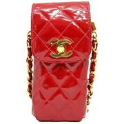 Chain Pouch Quilted Patent Leather Red Gold Shoulder Bag Turn Lock Women