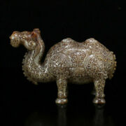 7.6 Antique Chinese Old Hetian Jade Collect Natural Handcarved Camel Statues
