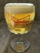 Lot Of 9 Vintage Budweiser Beer Red Bowtie Thumbprint Glass Goblets -nice-