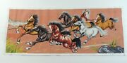 Completed Cross Stitch Hand Stitch Wild Horses Unframed Finished 41x17
