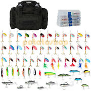 Black Bass Fishing Bag And 5 Tackle Boxes And 60 Spinners Spoons Crankbaits Lures