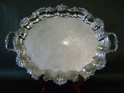 22x16 Vg Sheffield Reed Barton Silverplate Ornate Oval Handle Footed Servin Tray