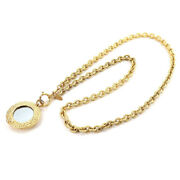 Mirror Coco Mark Long Chain Pendant Necklace Gold 29 Vintage Accessories
