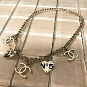 Necklace Gold Plated White Enamel Cc Logo And Heart Charms 06p With Box