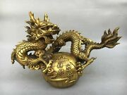 22and039and039 Brass Copper Home Feng Shui Flourishing Treasure Animal Dragon Statue