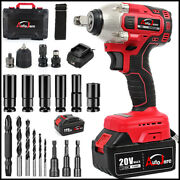 Cordless Electric Impact Wrench Gun 1/2and039and039 Driver Drill W/ 4ah Battery 550 Nm 20v