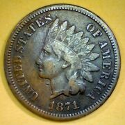 1871 Fine Copper Indian Head Us Penny