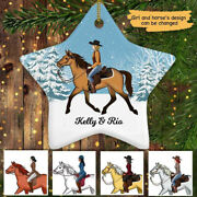 Girl And Her Horse Christmas Personalized Star Ornament