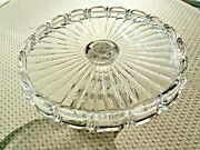Vintage Fostoria Coin Clear Glass Pedestal Cake Stand Plate