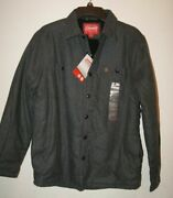 Coleman Menand039s Sherpa Lined Flannel Shirt Jacket Charcoal Heather Size Small Nwt