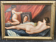 1920s Italian Impressionist Oil Painting Of Cherubs And Nude Signed