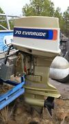 1976 Evinrude Outboard 70 Hp Model 70673d With Remote And Cables Runs Great