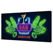 Colourful Coctail Bar Neon Sign Modern Design Canvas Print Wall Art Picture