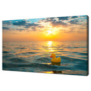 Yellow Rubber Duck Toy Floating In The Sea Sunset Canvas Print Wall Art Picture