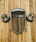 Vtg 1936 International Truck Grill Grille Welded On Lights Authentic Wall Art