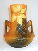 Beautiful 1940s Roseville Pottery Two Handled Vase Brown Clematis Pattern 106-7
