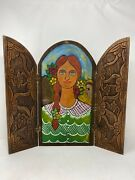 Antique Folk Art Carved Wood Oil Varnish Painted Girl Traveling Triptych Relief