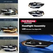 For Ford Mustang 2018-2020 Led Headlamps Drl Assembly Streamer Driving Lights