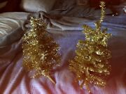 2 Vintage Christmas Tinsel Trees Gold Tabletop Aluminum 13 High