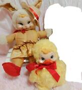Rushton Vintage Rubber Face Doll Easter Bunny And Duck Set