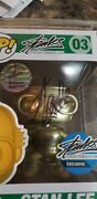 Funko Pop Stan Lee Gold 03signed Autograph Excelsior Approved W/hard Protector
