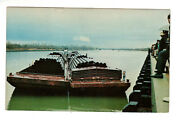 Postcard Muskogee Port Oklahoma Ok - Steel Pipes On Barge For Oil Industry
