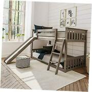 Solid Wood Twin Low Bunk With Slide Bed Clay Low Bunk + Slide