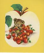 Vintage Teddy Bear Eating Red Apples Fruit Collage Picture Cute Art Old Print