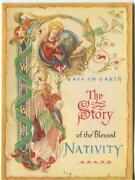 Vintage Christmas Medieval Letter P Angels Dove Embossed Nativity Greeting Card