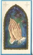 Vintage Christmas Church Stained Glass Window Praying Hands Gold Greeting Card