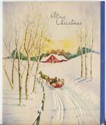 Vintage Christmas Snow Sleigh Ride Birch Trees Red House Sunset Greeting Card