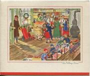 Vintage Christmas Village Shop Store Cat Candy Victorian Stove Art Greeting Card