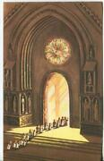 Vintage Christmas Choir Boys Candles Stained Glass Window Church Greetng Card