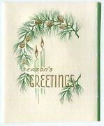 Antique Christmas Gold Pine Cones Green Fir Candles Copper Plate Engraving Card