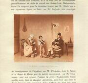 Antique Boy Child Reads Book To Elderly Folks Smiling Humble Home Small Print