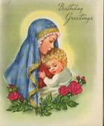 Vintage Virgin Mary Christ Child Red Roses Love Affection Birthday Greeting Card