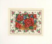 Vintage Red Roses Forget Me Nots Flowers Collage Picture Aesthetic Litho Print
