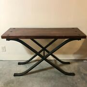 Console Table With Crossed Wrought-iron Legs Pottery Barn