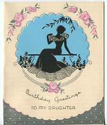 Vintage 1930's Garden Flowers Black Silhouette Cameo Pretty Girl Greeting Card