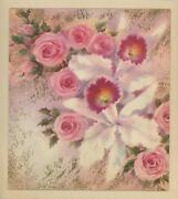 Vintage Pink Roses White Orchid Shabby Garden Flowers Chic Picture Art Print