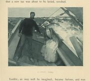 Antique Windy High Waves Seas Yacht Boat Victorian Woman Man Miniature Old Print