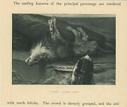 Antique Sorrow Mourning Death Of A Lion Fallen Monarch Miniature Old Print