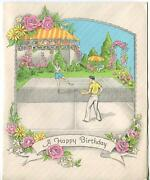Vintage 1930and039s Tennis Game Court Roses Arbor Garden Green Grass Greeting Hb Card