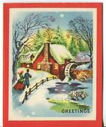Vintage Christmas Red House Water Mill Snow Mid Century Nouveau Greeting Card