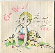 Vintage Blonde Boy Puppy Dog Fishing Pole Worms Gold Fish Woodblock Litho Card