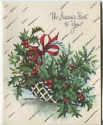 Vintage Christmas White Lattice Basket Holly Berries Ferns Silver Greeting Card