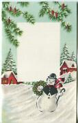 Vintage Christmas Glitter Snowman Red House Candles In Trees Not Circulated Card